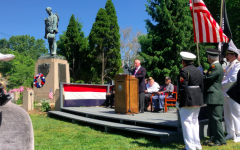 Town Mayor Jim Marpe gives a speech remembering lost soldiers at the culmination of the Memorial Day Parade.