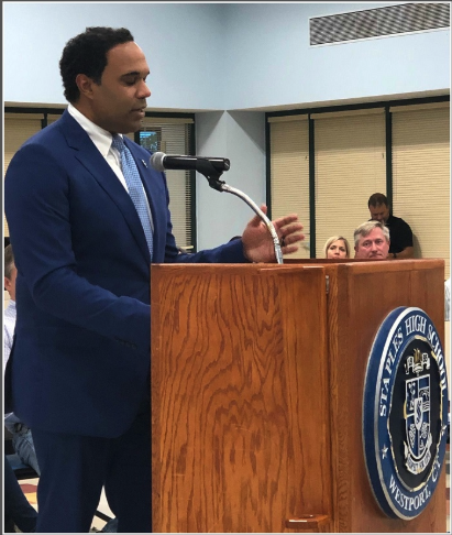 Stafford Thomas Jr. addresses the Board of Education at the meeting where he was announced as Principal of Staples High School on June 20. Thomas graduated with a Bachelor's degree from Georgetown University, and proceeded to earn a law degree and Masters in Education Administration from Boston College.