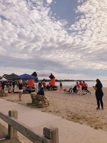 Participants of the annual 2019 Fairfield County Bank Westport Kiwanis Triathlon on Sept. 8, 2019 race to complete the event at Compo Beach in Westport, Connecticut.