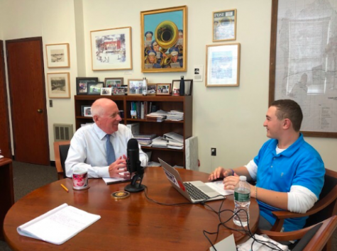 Westport's First Selectman Jim Marpe chatting with staff writer Ethan Frank '20 about school safety. The interview was conducted back on Sep. 24 at Marpe's office at Town Hall and Mr. Marpe described different aspects of school safety in Westport.