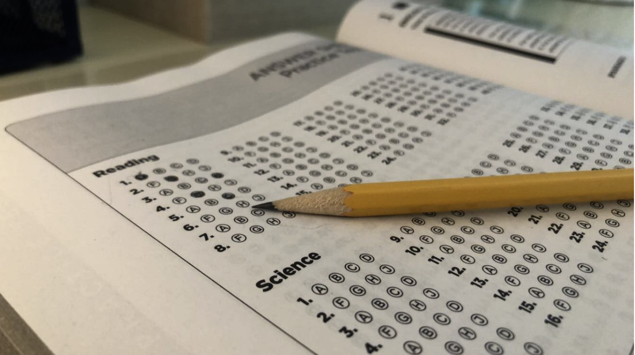 An American College Testing (ACT) test preparation book. Starting in 2020, students will have the ability to retake any of the four individual sections.