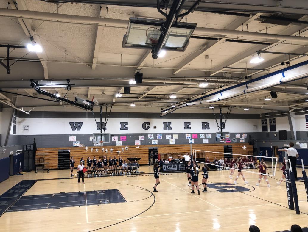 Staples girls' volleyball plays against St. Joseph on their senior night winning 3-1.