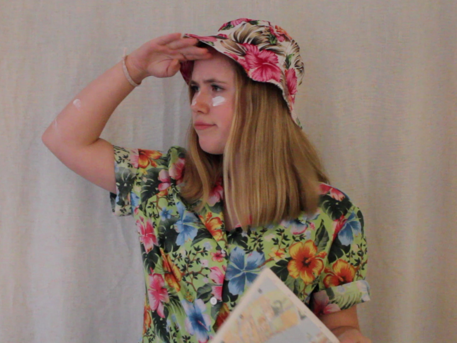 Dressed as a tourist, Tallula Stvan '21 searches far and wide for some unique Halloween costumes.