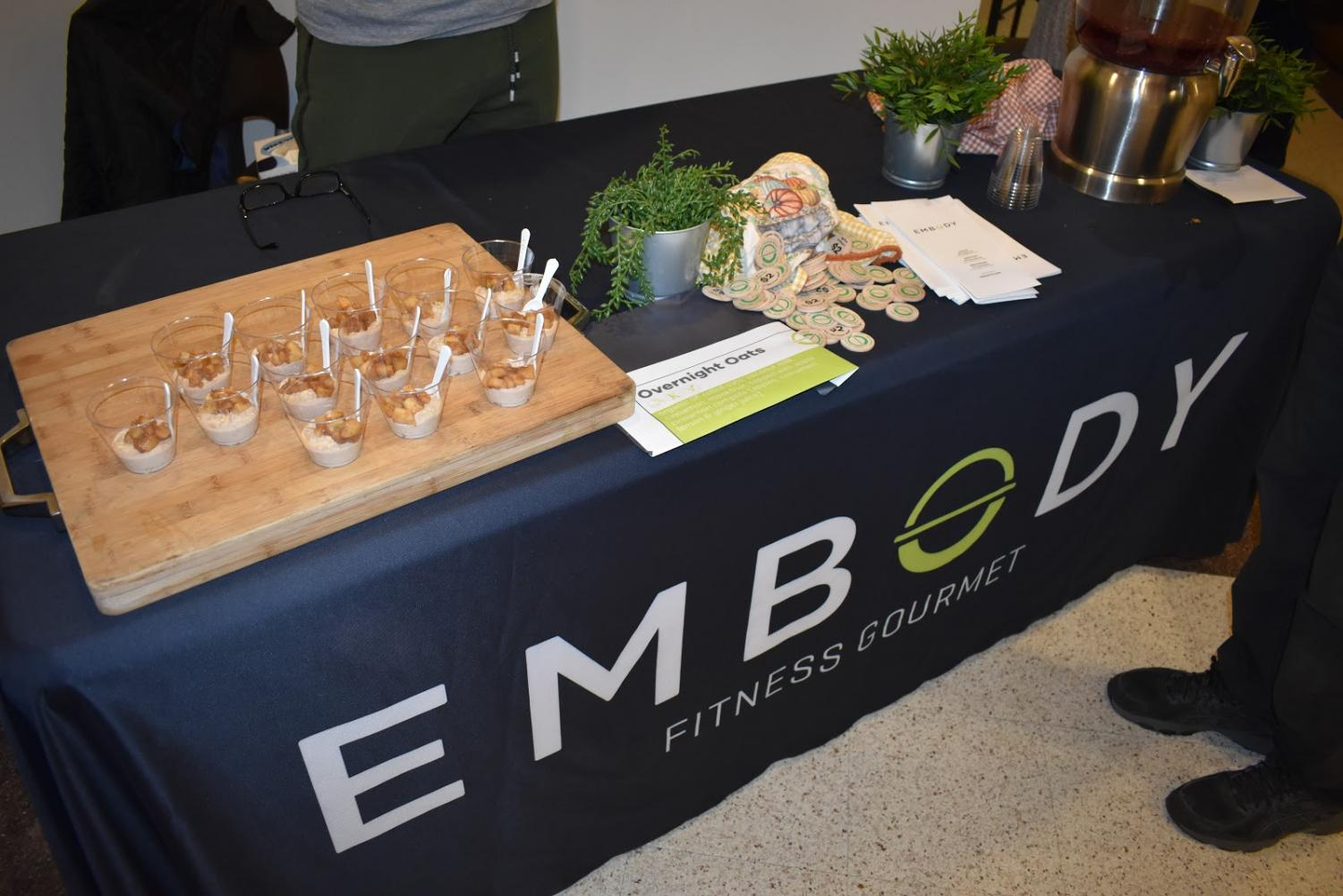 One of the booths at the event was Embody which served their overnight oats. The sampling included rolled oats soaked in coconut milk topped with apple cinnamon compote.
