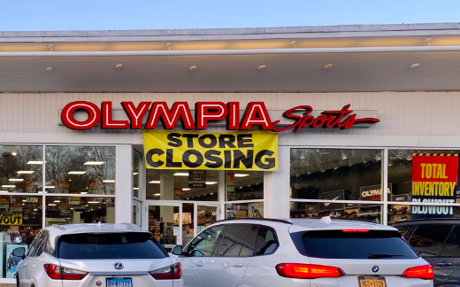 The sports store Olympia Sports on Post Road East announced it's closing and has started its closing sale on many items.