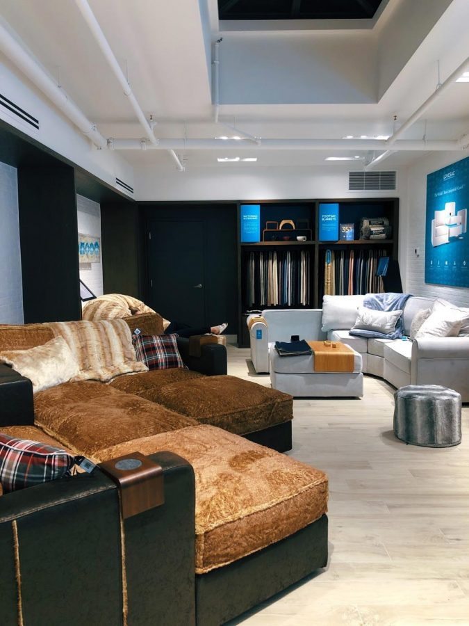At the Westport showroom, Lovesac's interior features the seven-seat 'Sactional' (left) and varieties of 'Sacs,' filled with proprietary Durafoam™ for extra comfort.