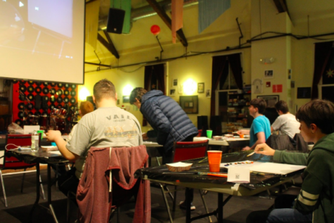 Students of all grade levels unwind through art while following a painting tutorial at Toquet Hall this Friday, Jan. 3.