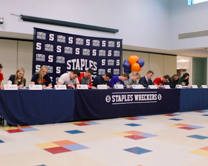This year, 12 Staples seniors committed to a multitude of NCAA Division 1 colleges, from Ivy Leagues to small liberal arts schools. Joined by family members, teammates and coaches, they signed their letters at the Staples cafe on Feb. 5, 2020.
