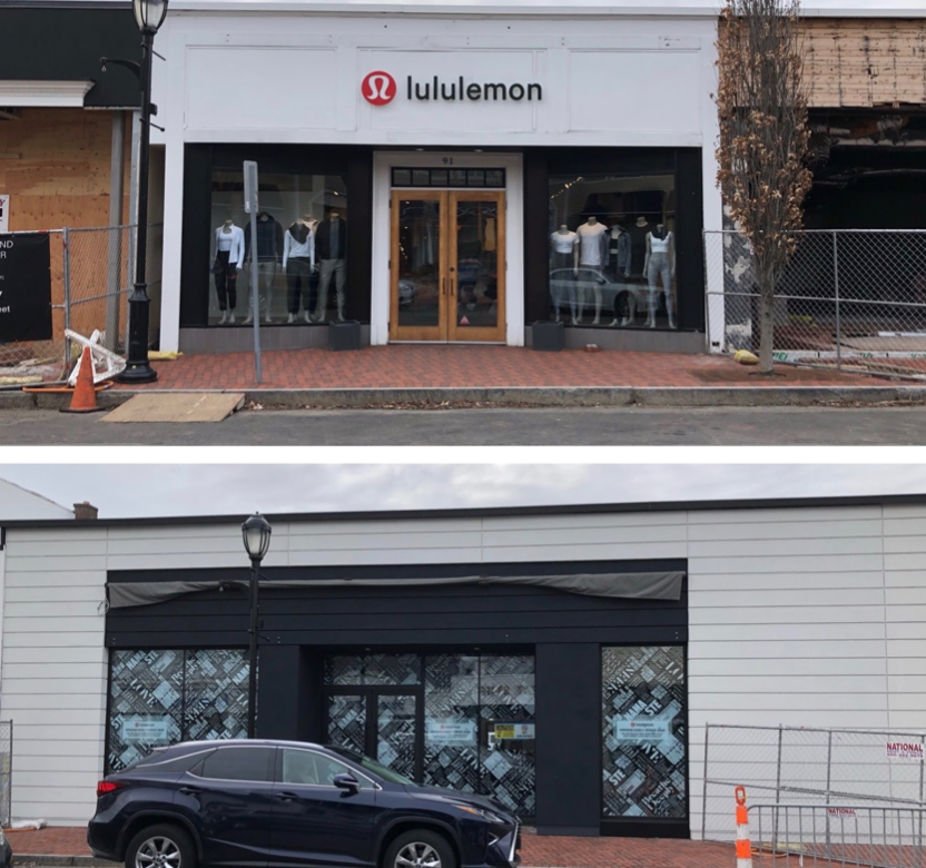 The current Lululemon building (above) is located at 91 Main Street. The new space (below) will allow for new products such as gym accessories.