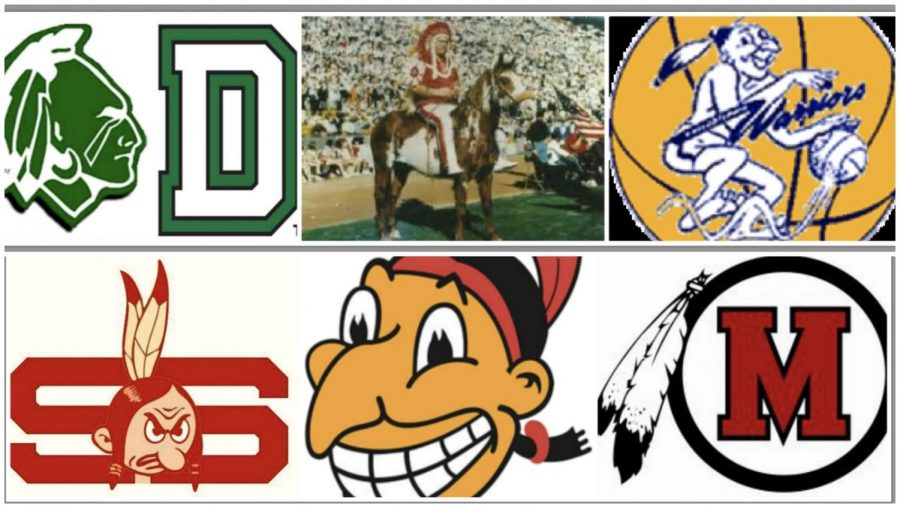 Countless+organizations%2C+including+Dartmouth+College%2C+Stanford+University%2C+the+Kansas+City+Chiefs%2C+Clevland+Indians%2C+Golden+State+Warriors+and+Manchester+High+School+have+changed+their+outright+derogatory+mascots+shown+here.+Each+mascot+has+been+changed+into+things+with+no+offense+to+any+specific+ethnic+group.+