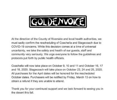 Full statement from Goldenvoice regarding the postponing of Stagecoach and Coachella.