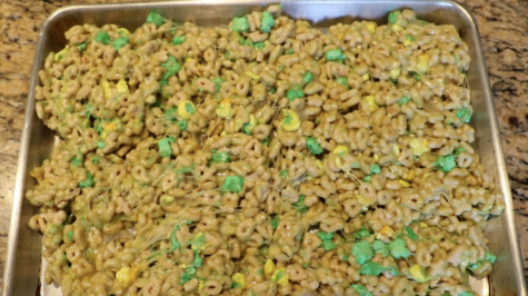 Limited edition St. Patrick's Day Lucky Charms mixed with melted marshmallows to make an amazing dessert for the holiday.
