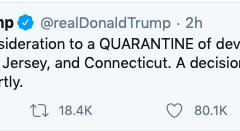 President Trump considers quarantining parts of Connecticut