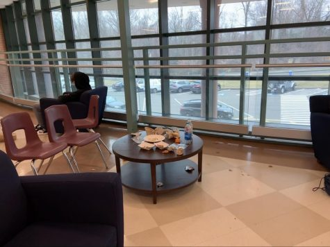 The bridge is a popular place during lunch periods, there are many tables and chairs to eat or hangout, however as the picture shows there was a large mess left by students which is one of the reasons students are supposed to eat in the cafe.
