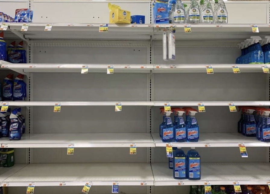 Shelves+at+Stop+%26+Shop+are+now+nearly+empty+due+to+people+hoarding+supplies.+