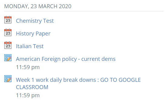Schoology is where teachers post assignments and assessments, and students often look here for what work they have to get done. Seeing multiple large assignments causes stress and inevitably requires a large amount of time that could ruin a students weekend.