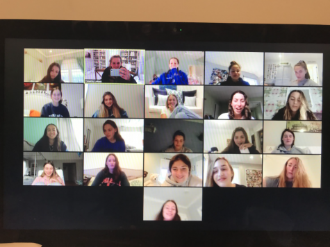 The girls' lacrosse team gathered on Zoom on April 2 to catch up and share what they've been doing during this unprecedented time. The team meeting was led by the three captains: Kyle Kirby '20, Kathleen Cozzi '20 and Jane Lukens '20.