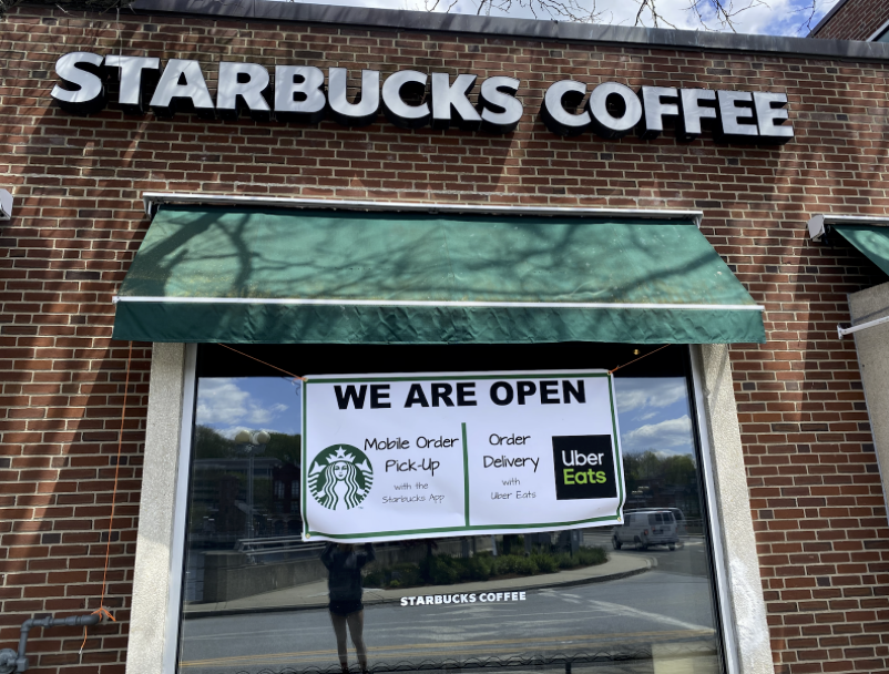 Starbucks' curbside location opens due to increasing demand during quarantine.
