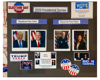 Social studies teacher Suzanne Kammerman's classroom board depicts the Democratic and Republican tickets as well as dates for the online and absentee ballots and Presidential and Vice-presidential debates.