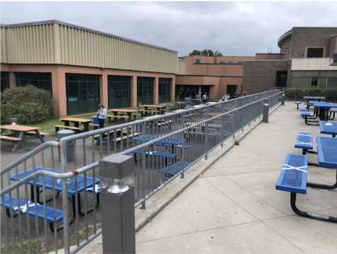 This is the setup for the outdoor seating tables at Staples High School.