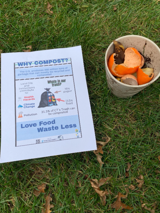 The Zero Waste Committee advocates for composting and reducing waste at home.