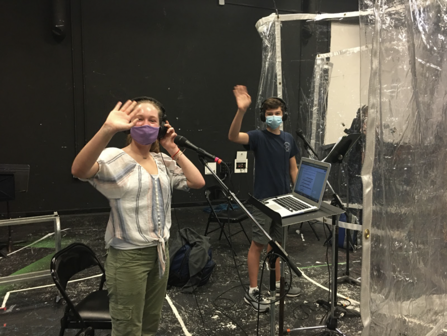 Players practice in booths in the black box theater to maintain social distancing. Pictured are Chloe Manna '22 and Sebastian Gikas '23.