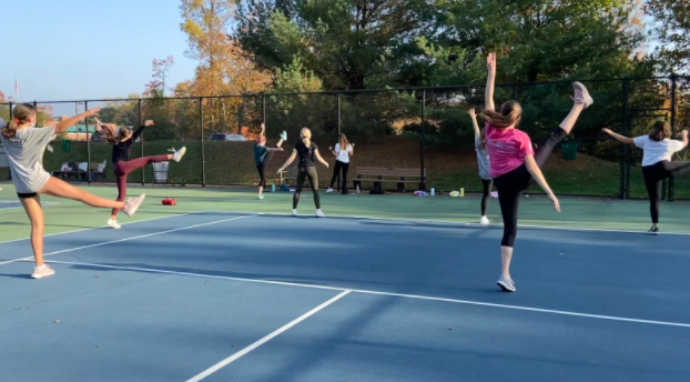 Due to COVID-19 and the absence of the traditional fall show, Staples Players hosts outdoor dance classes to keep their dance skills sharp and have some fun.