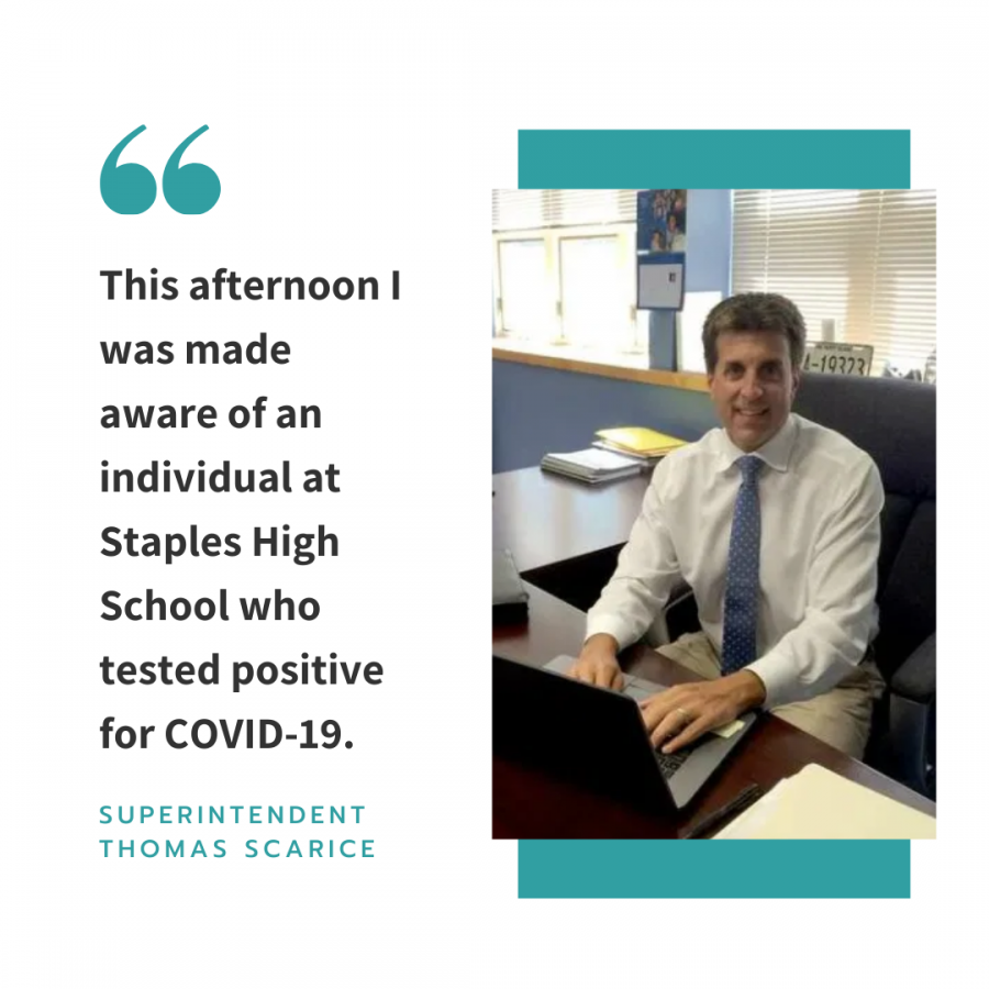 Westport families were informed of a positive COVID-19 case at Staples High School on Nov. 6. The infected person was in quarantine and did not have any close contacts at school.