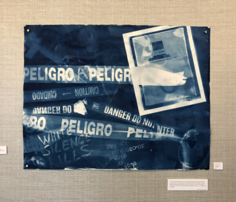 "A cyanotype art piece by Margaret Roleke ""Danger/Peligro"" depicts what she deems as social and political issues affecting the country this year."