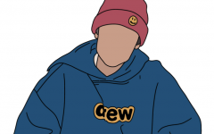 Justin Bieber, drawn by Molly Gold '21, wearing his own clothing line, Drew House.