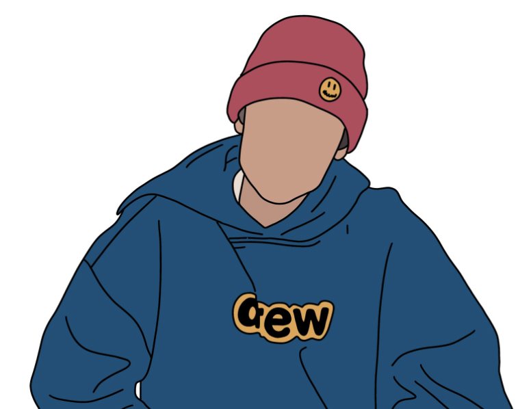Justin+Bieber%2C+drawn+by+Molly+Gold+%E2%80%9921%2C+wearing+his+own+clothing+line%2C+Drew+House.+