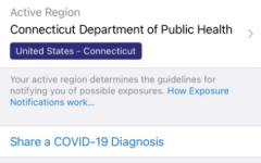 The exposure notification option in settings is available on both apple and android phones in Connecticut. When enabled, the service tracks if people have been exposed to others that have Covid-19 through logging any phone that comes within six feet. If someone with this service tests positive for Covid-19, they enter it into their phone and the exposure notifications send a message to phones that have come within six feet of the positive person.