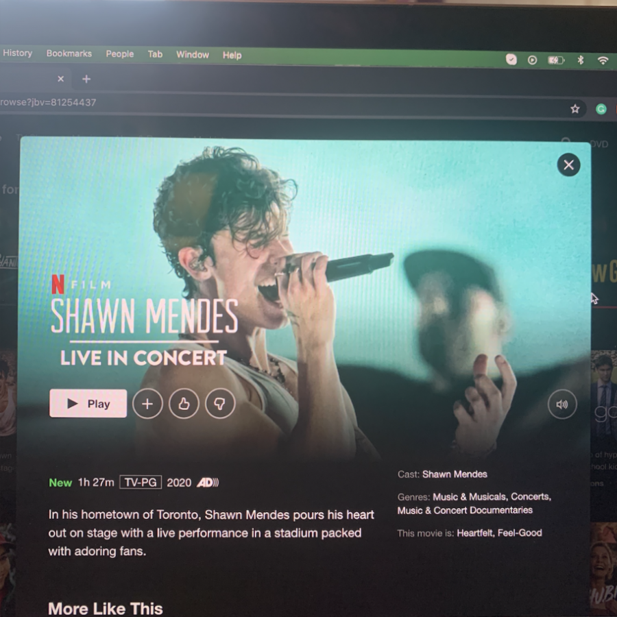"""Shawn Mendes: In Wonder"" film on Netflix. The film released on Monday and is available via the streaming site. The film features Mendes' journey through stardom and the hardships that go along with it."