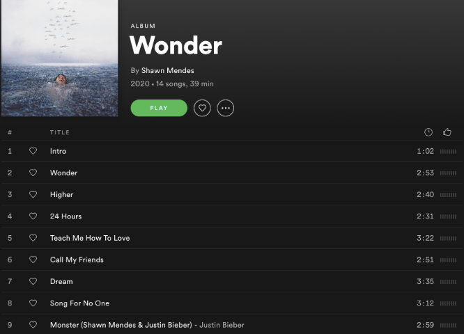 """Shawn Mendes' album """"Wonder"""" released on Dec. 4 and contains 14 songs with one featuring Justin Bieber."""
