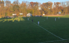 """Staples boys' soccer takes on Brien McMahon at Loeffler Field in front of no fans. """"Packing the hill"""" as it's called by the soccer team isn't a thing this year due to COVID Guidelines."""