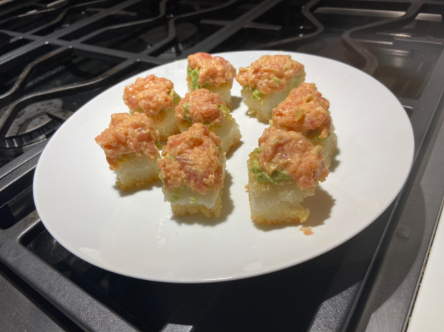 A at home recipe for spicy tuna crispy rice, with easy at home ingredients.