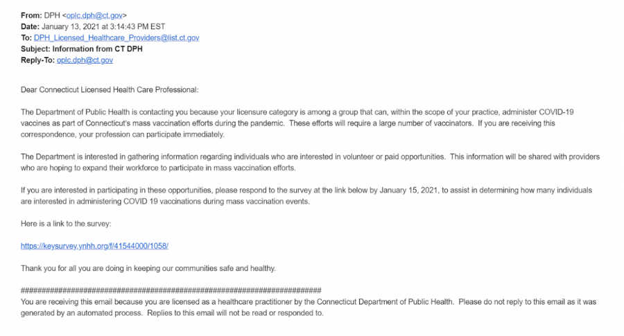 The Connecticut Department of Health informed certain health care professionals that they may participate in administering vaccines in an email on Jan. 13. Recipients were asked to respond by Jan. 15 if they decided to help assist in the vaccination efforts.