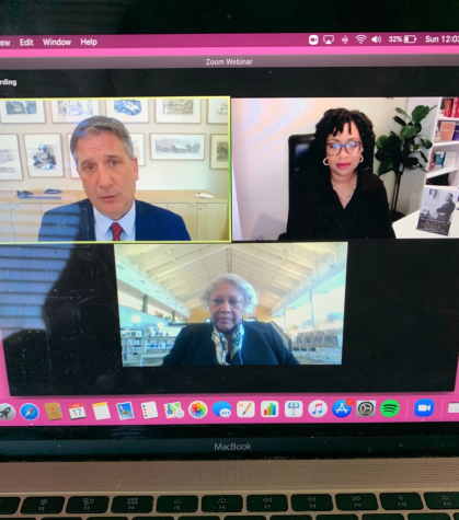 """Layla F. Saad (upper right) and Bernicestine McLeod Bailey (bottom) had a virtual conversation on Sunday, Jan. 17 about Saad's book """"Me and White Supremacy""""."""