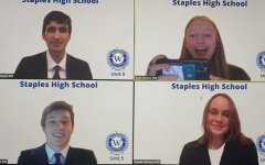 Rishabh Mandayam '21, Katie Simons '22, Alex Harrington '22, and Natalie Bandura '22 prepare for the competition via Zoom. The group covered Unit 5, which focuses on freedom of speech and the right to privacy.