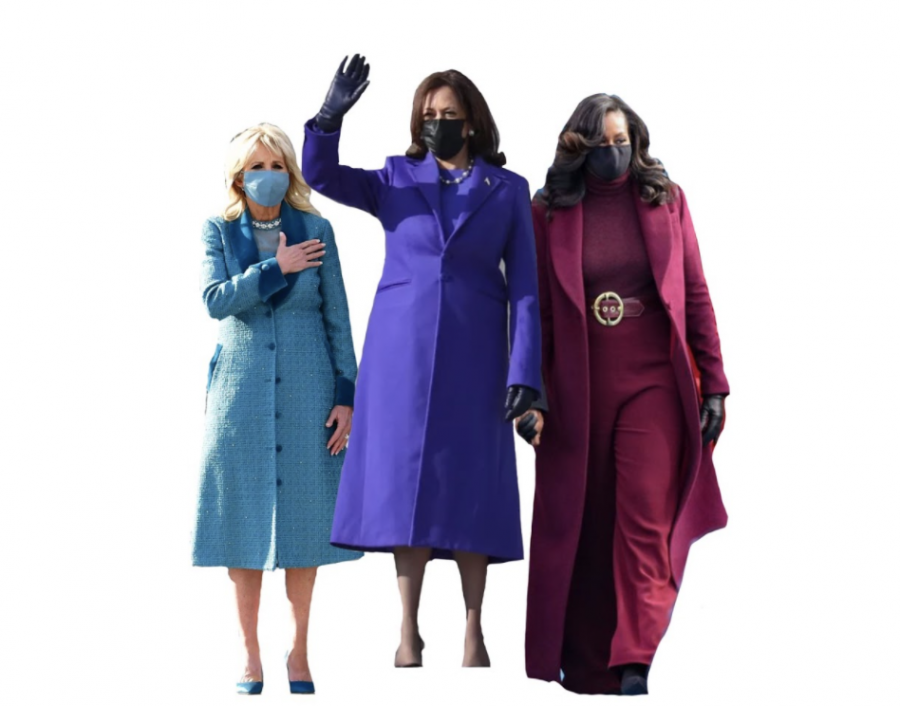 Bold+intentional+monochromatic+outfits+seemed+to+be+the+trend+of+the+Inauguration.+Dr.+Jill+Biden%2C+Vice+President+Kamala+Harris%2C+and+former+First+Lady+Michelle+Obama+quickly+became+a+popular+trio+in+their+complementary+jewel+tones+by+American+designers.+