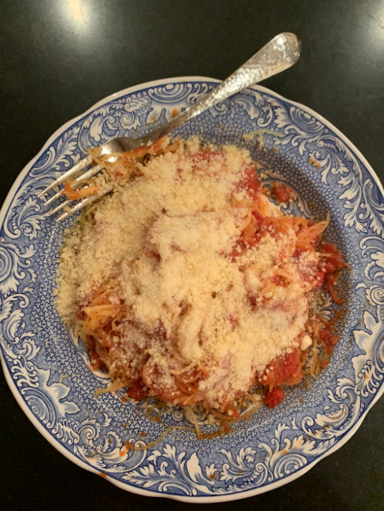 Marinara spaghetti squash is easy to make and a perfect meal to eat during the winter.