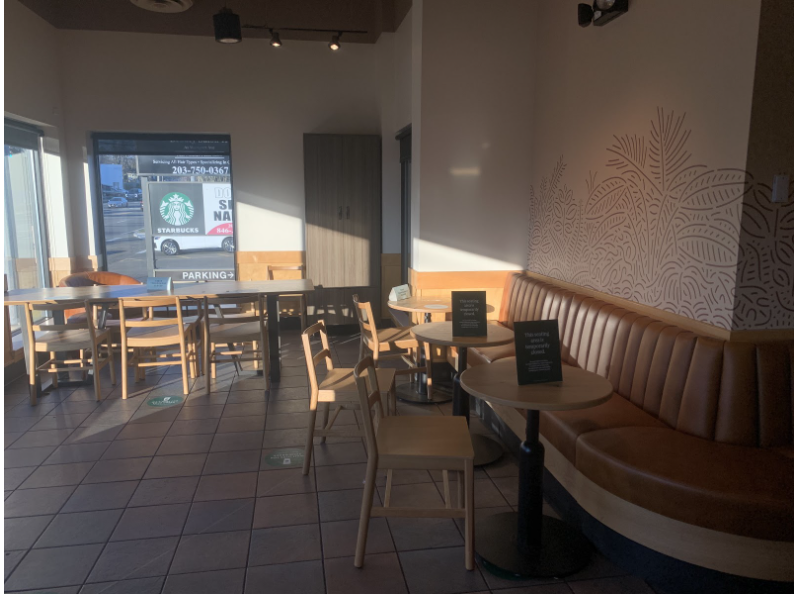 Starbucks+in+Norwalk%2C+Connecticut+has+reopened+its+seating+area+for+customers.+Spaced+out+tables+and+wearing+a+mask+when+not+eating+are+protocols+that+must+be+followed+to+ensure+safety.