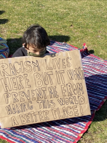 Westport citizens gathered at Jesup Green on March 27 to show their support for Asian Americans, who have been suffering from increased levels of violence and abuse in recent weeks.
