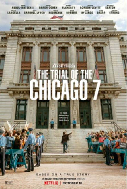 "The official release poster for the film ""Trial of the Chicago 7,"" a courtroom drama that was critically acclaimed."