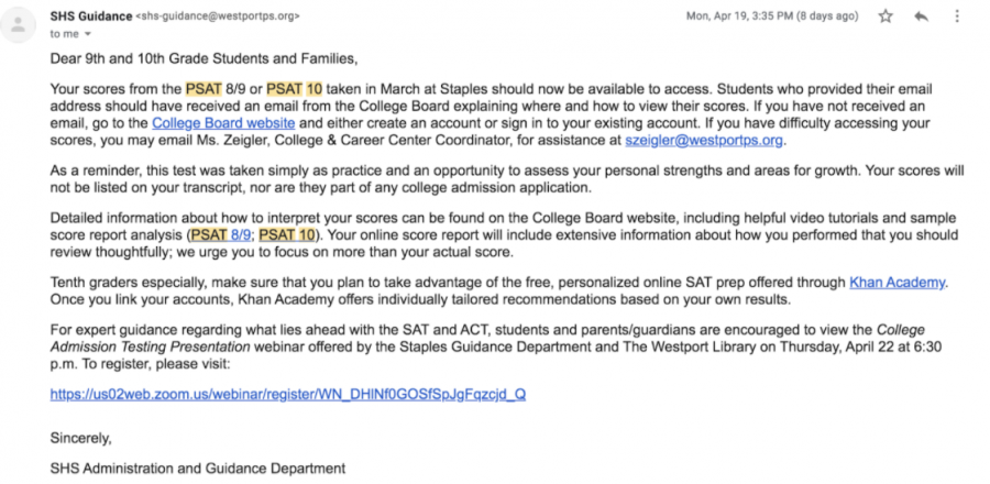 PSAT scores were released in an email sent out to students on April 19. These scores are helpful for sophomores as they begin the college process and seek out tutoring options to prepare for their grade 11 SAT or ACT.