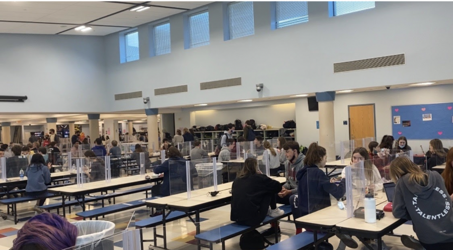 While+there+are+still+COVID-19+restrictions+including+masks+and+plastic+dividers+set+up+in+the+cafeteria%2C+guidelines+are+easing+and+Staples+is+noticeably+more+crowded.+