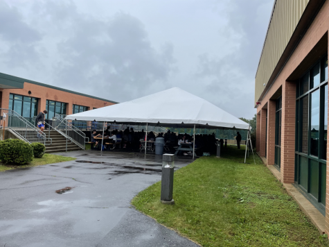 This tent was added as one of the new COVID precautions for the 2021-22 school year. It allows students to eat or do homework outside without a mask.