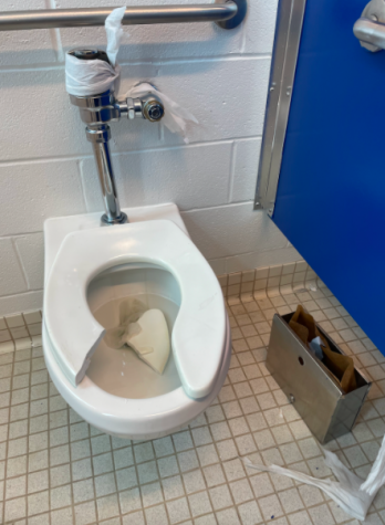 The girls second floor bathroom was vandalized on Sept. 23. The perpetrator(s), who has not yet been identified, peeled paint off the stall walls, broke the toilet seat and drew a sexually explicit image on the stall door.