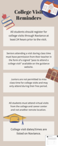 There are a couple of rules regarding college visits, including registering 24 hours prior to the visit and attending all virtual visits from the college and career center.