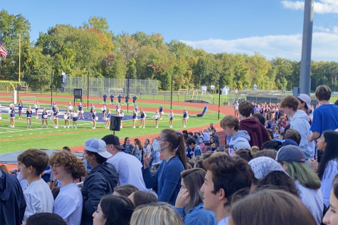 Staples students packed the bleachers during last period on Friday, Oct. 22 for the school pep rally after a week of various spirit days.
